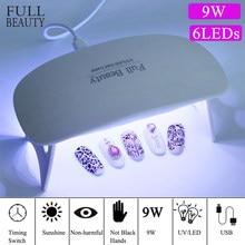 Petite lampe UV Led 9W pour séchage de vernis à ongles Gel, lampe solaire Portable UBS pour manucure, voyages à domicile