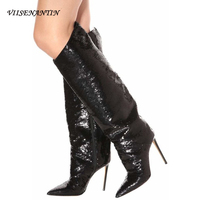 VIISENANTIN 2020 Slim Heels Fashion Catwalks Ultra high heeled Patent Leather Sequined High top Knee length Boots Woman