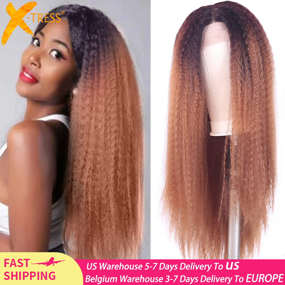 Long Kinky Straight Synthetic Lace Front Wigs For Women Ombre Brown Blonde Color Fluffy Hair Wig With Natural Hairline X-TRESS