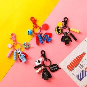 Cartoon Star Wars Super Man Batman Rabbit Minecraft Keychain Marvel Super Hero Plastic Building Blocks Bell Key Chain Key Ring(China)