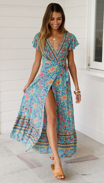 2021 Summer Women Dress Indie Folk Women Sexy Printed Bow Holiday Beach Wrap Dresses V-Neck Boho Dress Elegant Party Sundress 3