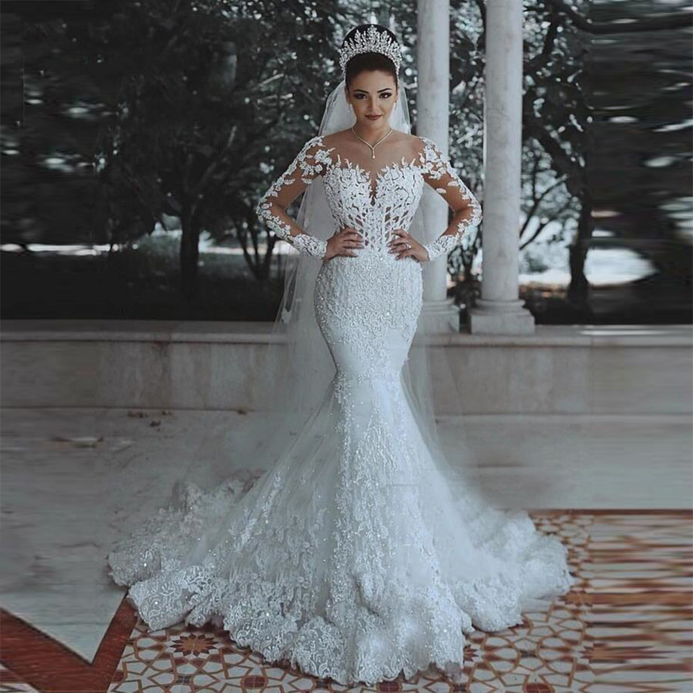 Dubai Africa Luxury Mermaid Wedding Dress With Long Sleeves Wedding Gowns Bridal Dresses Custom Made Appliques Robe De Novias
