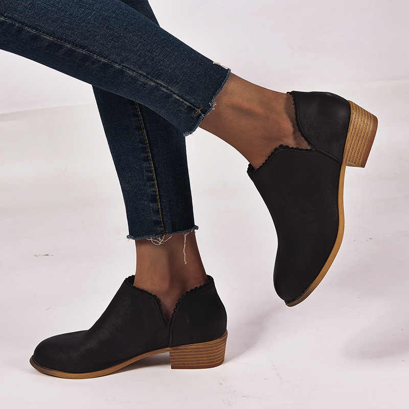 2019 frühling Herbst Frauen Chelsea Stiefel Slip-On Med High Heels Chunky Spitz Winter Schuhe Frau Stiefeletten plus Größe 43