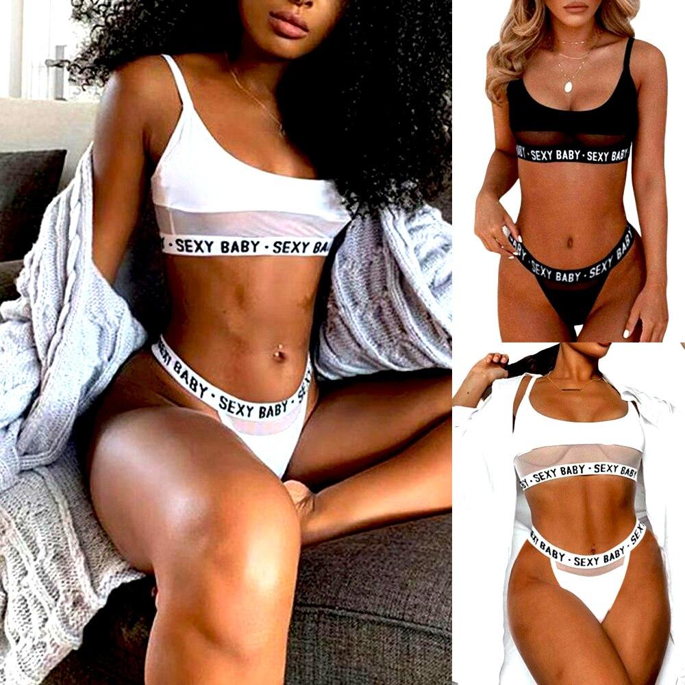 Plus Size 3XL Sexy Lingerie Exotic Bra Sets Transparent Sleepwear Babydoll Panty G-string Underwear Lace Bras Hot Nightwear