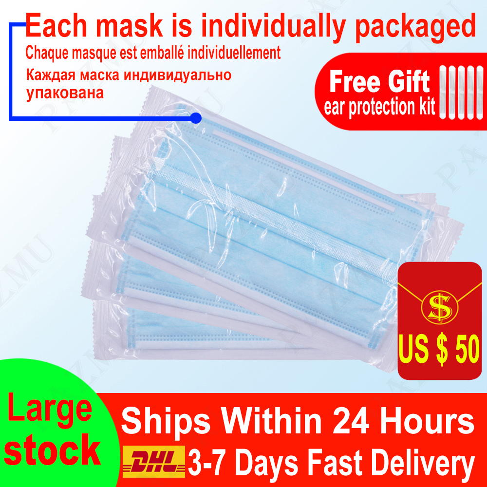 Single Package 3 Layer Disposable Face Mask 3 Ply Meltblown None-woven Filter Mouth Masks Adult Earloop Thick Breathable