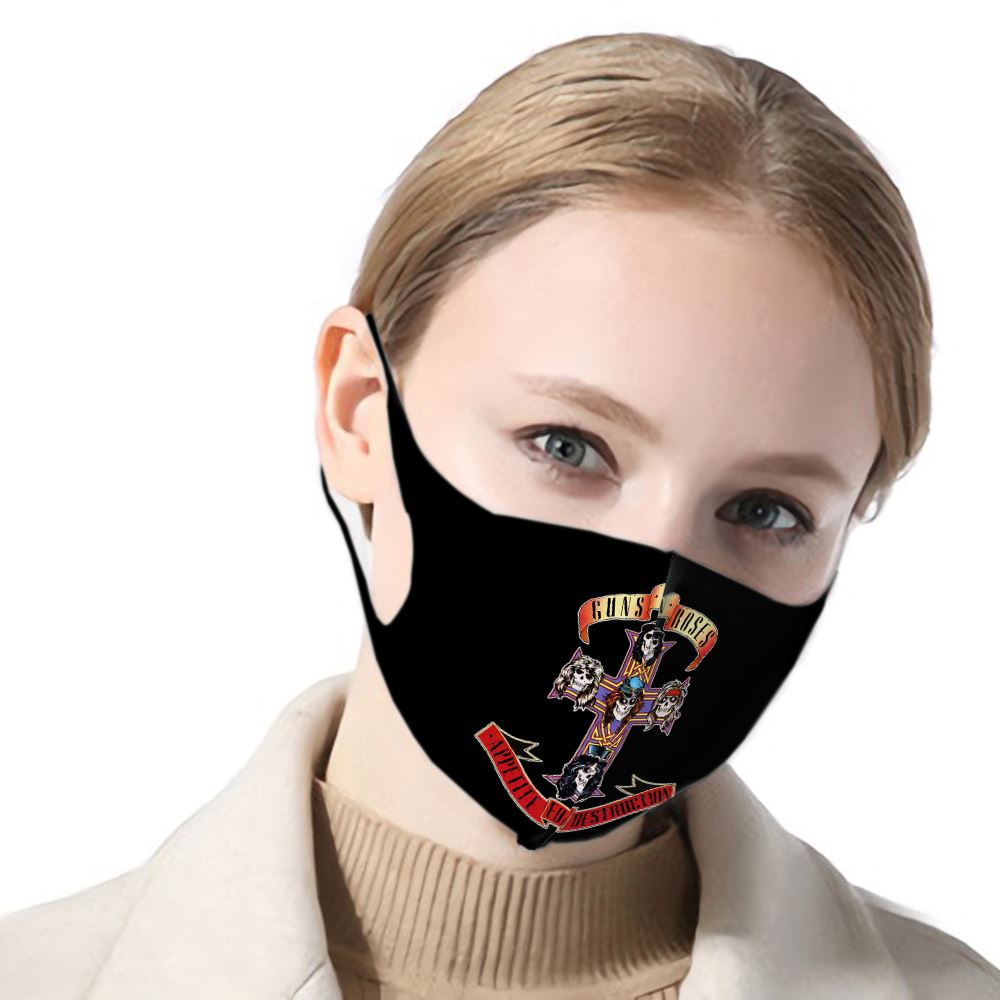 Guns N Roses Poster Female/male Mouth Mask Guns N Roses Dust-proof Mask Funny Ladies/mens Breathable Mask