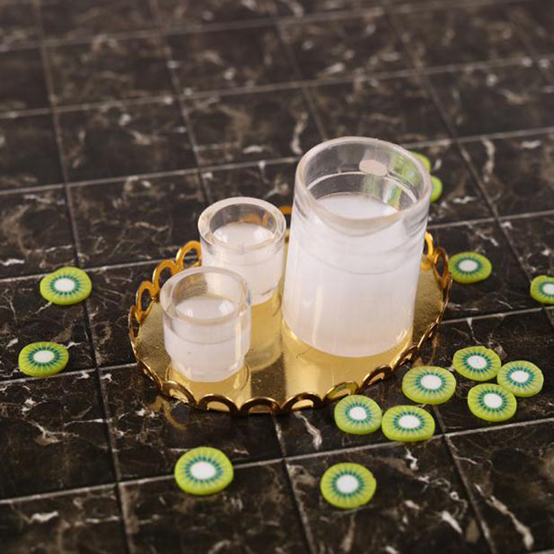 3Pcs//set 1:12 Dollhouse Miniature Milk Jug Milk Cups Doll Kitchen Accessories *