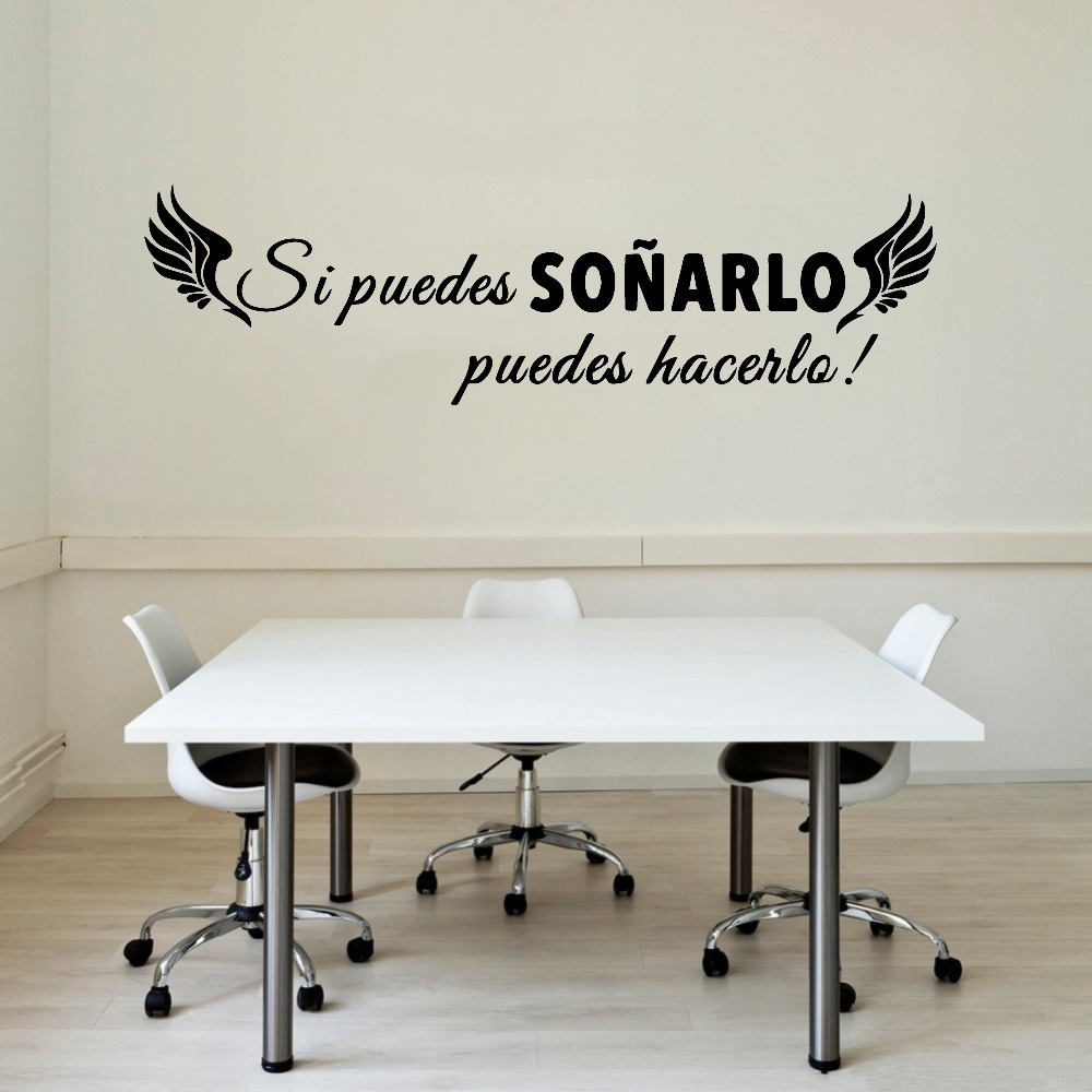 Spanish Quotes Wall Decals If You Can Dream It You Can Do It Motivational Sentences Vinyl Living Room Home Decor Stickers Y523