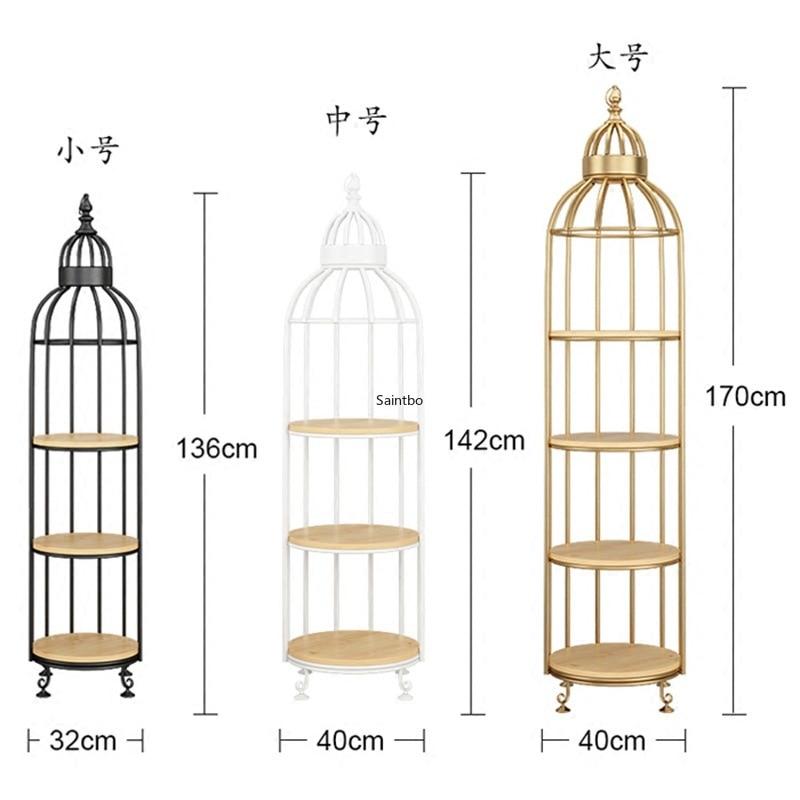 European Creative Birdcage Iron Flower Rack Coffee Shop Multi-story Solid Wood Partition Display Frame Living Room Landing Rack
