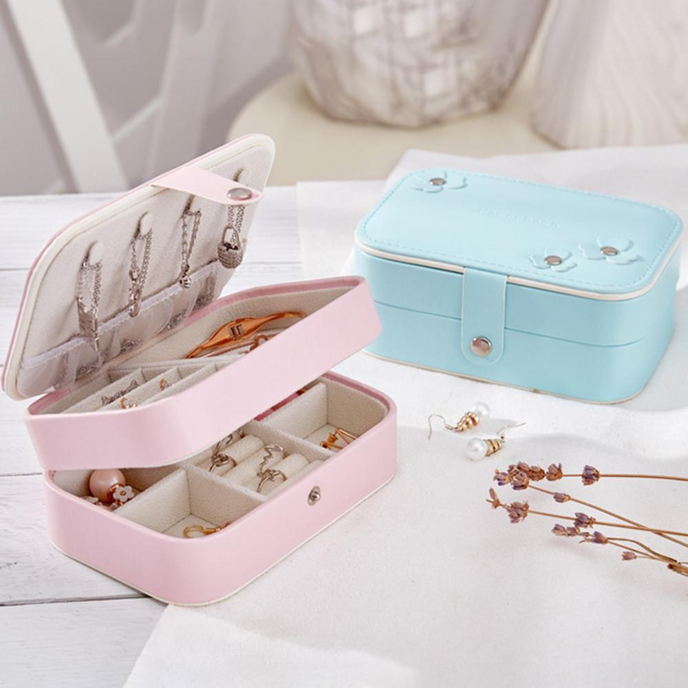 New Portable Folding Earrings Jewelry Organizer Box 2 Layers Leather Jewelry Display Case Jewelry Storage шкатулка для украшений