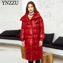 2019 Winter Red Women Long down jacket Loose Fashion Light Female Down coat Turn collar Elegant Overcoat Warm YNZZU 9O028