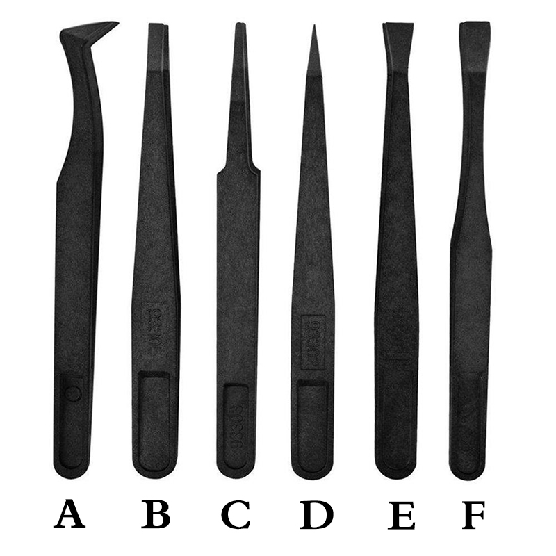 12 Size Anti-static ESD Plastic Tweezers Set Pointed Flat Curved Tips Tweezers For Electronics Phone PCB Repair Tools Kit
