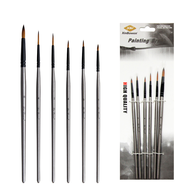 6Pcs/lot Pointed Head Watercolor Paint Brush Nylon Hair Silver Handle Drawing Tool For Kids School Acrylic Painting Art Supplies