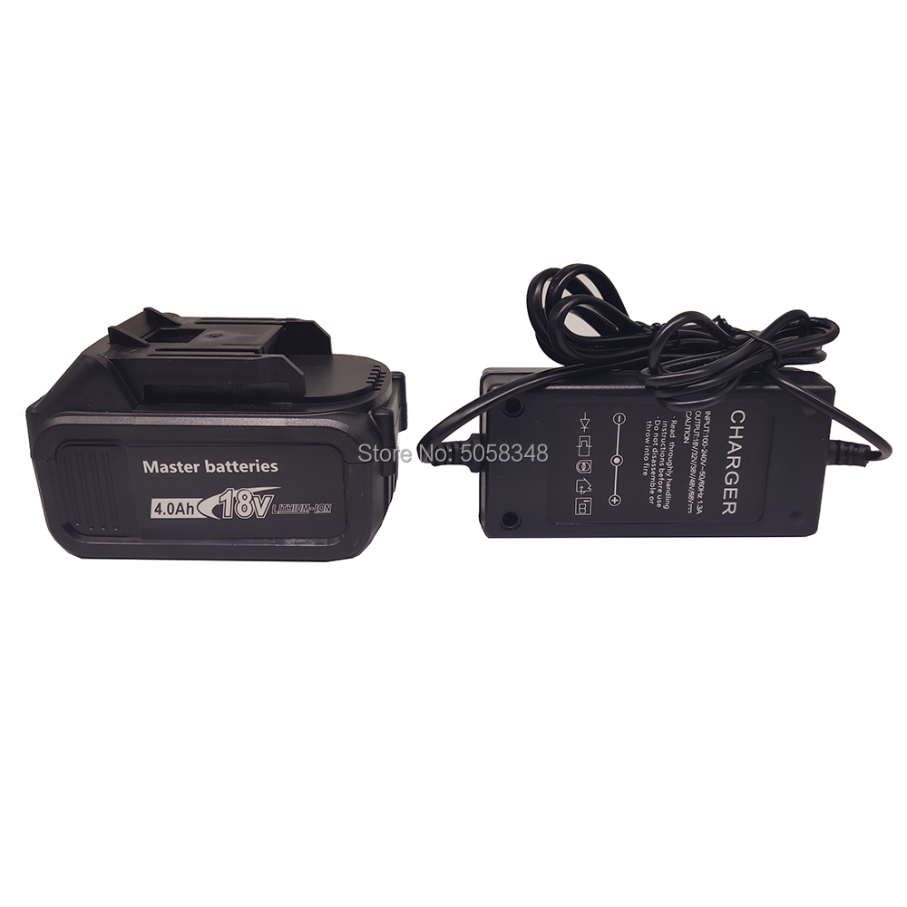 Compatiable 18V 4000 MAh Battery Pack With A Charger For Rechargeable Cordless Tool