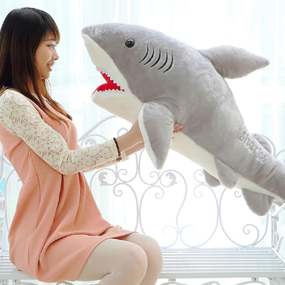 70cm Cute Shark Shaped Plush Toy Pillow Back Cushion Doll Gift Animal Bolster High Quality Big Size White Shark Plush Doll