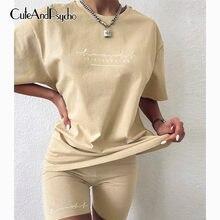 Casual Basic Vrouwen Twee Stukken Van Sets Homewear Oversize Shirt En Skinny Shorts Set Streetwear Brief Print Set Cuteandpsycho