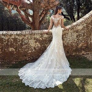 Image 4 - BAZIIINGAAA zarif dantel Mermaid düğün elbisesi tam çiçek baskı dantel Up kilise düğün için uygun afrika avrupa gelin