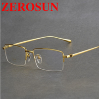 Zerosun Titanium Eyeglasses Frame Men Brand Half Rim Gold Glasses Man Spectacles for Graduate Prescription Myopia Optic Lens
