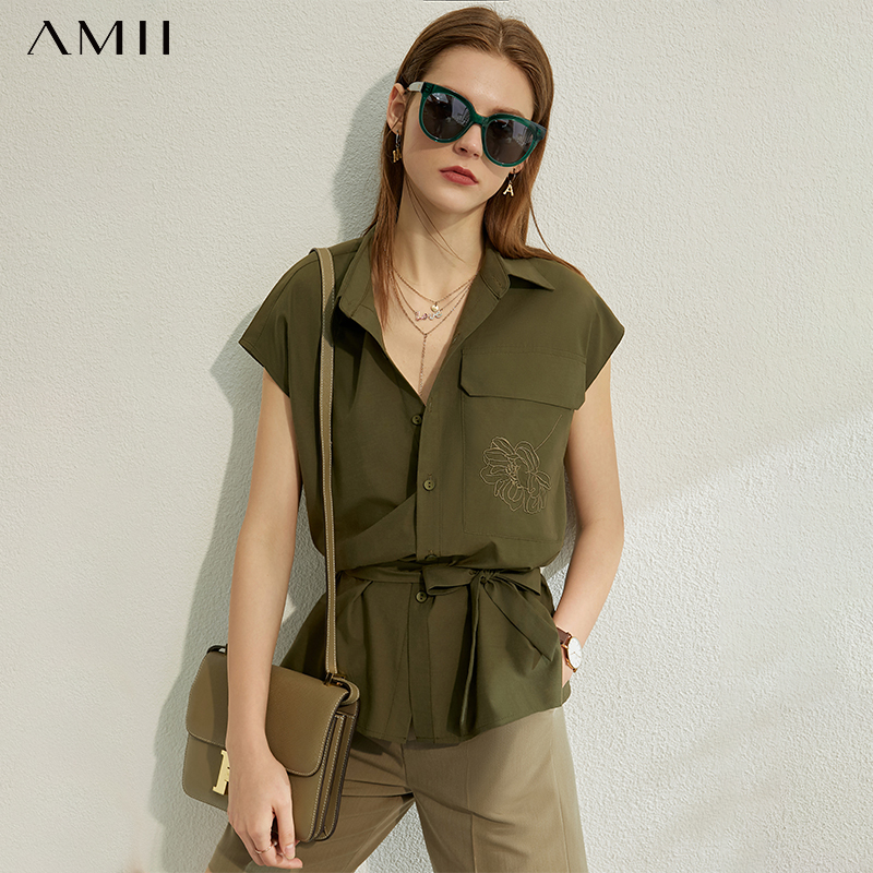 AMII Minimalism Spring Summer Flower Embroidery Women Shirt Tops Caual Lapel Single-breasted Belt Female Shirt 12070219