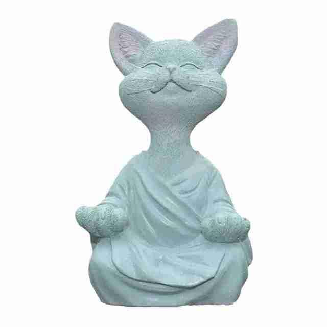 New Black Buddha Cat Figurine Meditation Yoga Collectible Happy Cat Decor Art Sculptures Garden Statues Home Decor 6