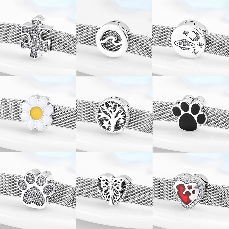 High Quality Clip Beads 925 Sterling Silver Hearts And Round Charms Fit Original Reflexions Bracelet Charms Jewelry Making
