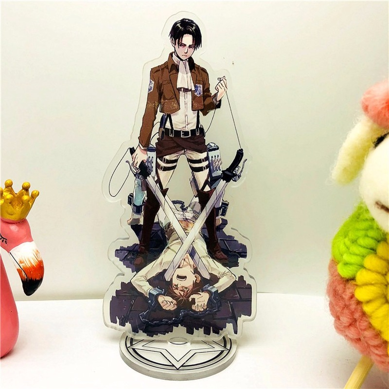 Attack On Titan Key Chain Creative Acrylic Key Ring Woman Kids Anime Keyring Man Girls Cute Keychain Eren Jaeger Mikasa Ackerman