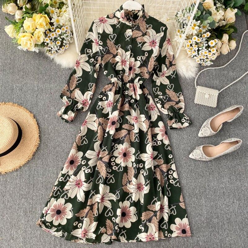 Весна-лето 2020 новое популярное женское шифоновое платье с принтом, модное женское Повседневное платье с пышными рукавами и вырезом в виде л...