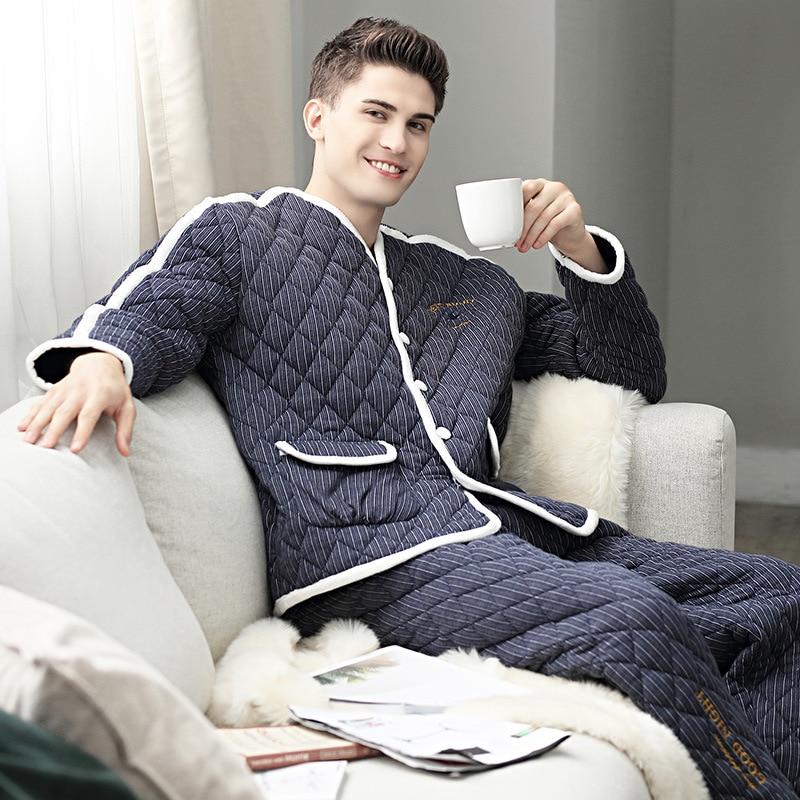Pijamas Men Winter Thicken Warm Cotton Mens Pajama Set Long Sleeve V-neck Sleepwear Suit Loungewear Male Cardigan Home Clothes