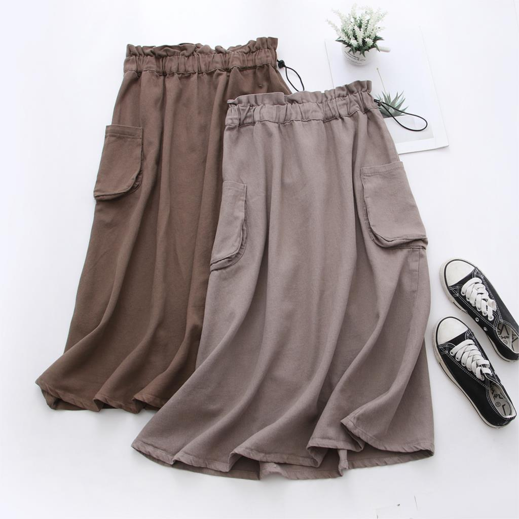 2020 Women Summer Cotton And Linen Midi Length Skirt Women High Waist Long Skirt With Pocket Saia A-Line Faldas Jupe Femme