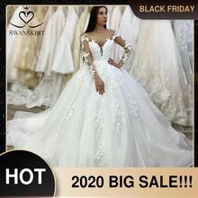 יוקרה חרוזים ארוך שרוול חתונה שמלת Swanskirt XZ38 מתוקה אפליקציות תחרה כדור שמלת נסיכת כלה שמלת Vestido דה novia