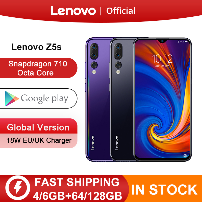 Global Version Lenovo Z5s Snapdragon 710 Octa Core 64GB 128GB Smartphone Face ID 6.3inch Android P Triple Rear Camera