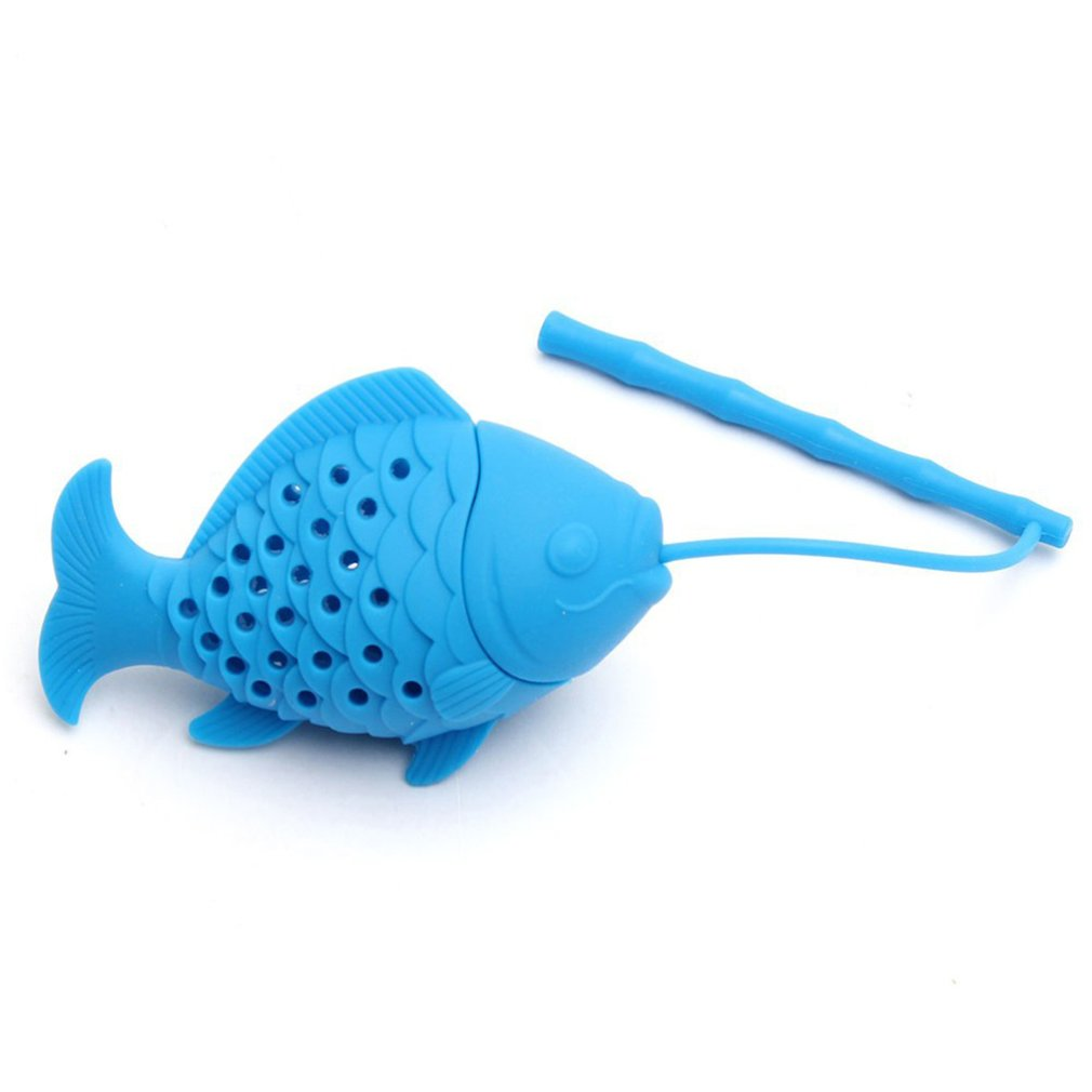 Kawaii Cute Fish Shape Tea Strainer Silicone Interesting Tea Infuser Filter Teapot For Tea Coffee Drinkware