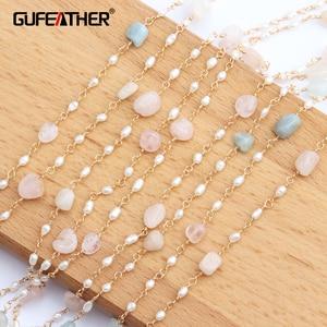 Image 1 - GUFEATHER C43, akcesoria jubilerskie, pozłacane 18k, 0.3 mikronów, kamień naturalny, naszyjnik z pereł, naszyjnik dla kobiet, 1 m/partia