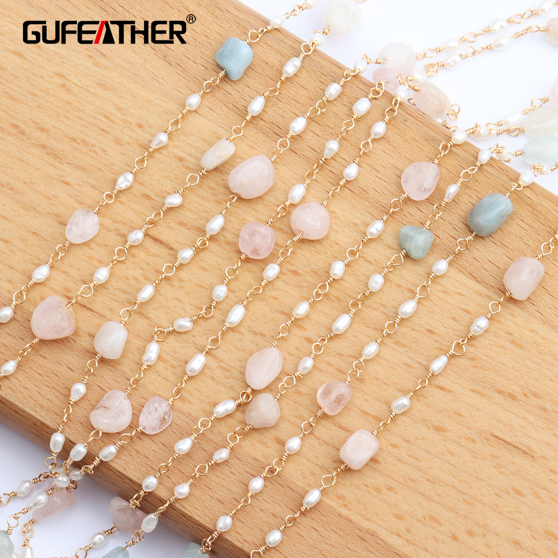 GUFEATHER C43,jewelry Accessories,18k Gold Plated,jewelry Making,natural Stone,pearl Chain Necklace,necklace For Women,1m/lot