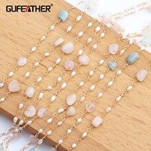 GUFEATHER accessoires de bijouterie pour femmes, C43, or 18k, 0.3 microns, pierre naturelle, collier en chaîne de perles, 1m par lot