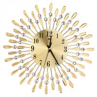 Crystal Sun Flower Wall Clock Large Gold Luxury Creative Retro Style Mute Clocks for Living Room Office Home Decor