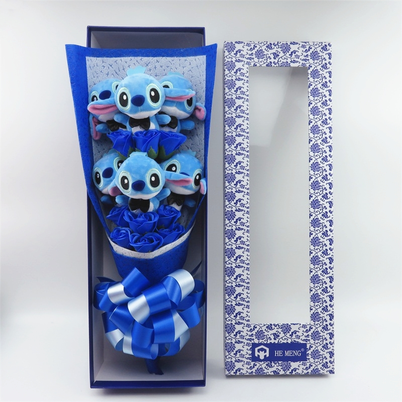 Lovely Cartoon Stitch Plush Toys Stitch Bouquet With Artificial Flowers For Valentine's Day Wedding Party Decoration