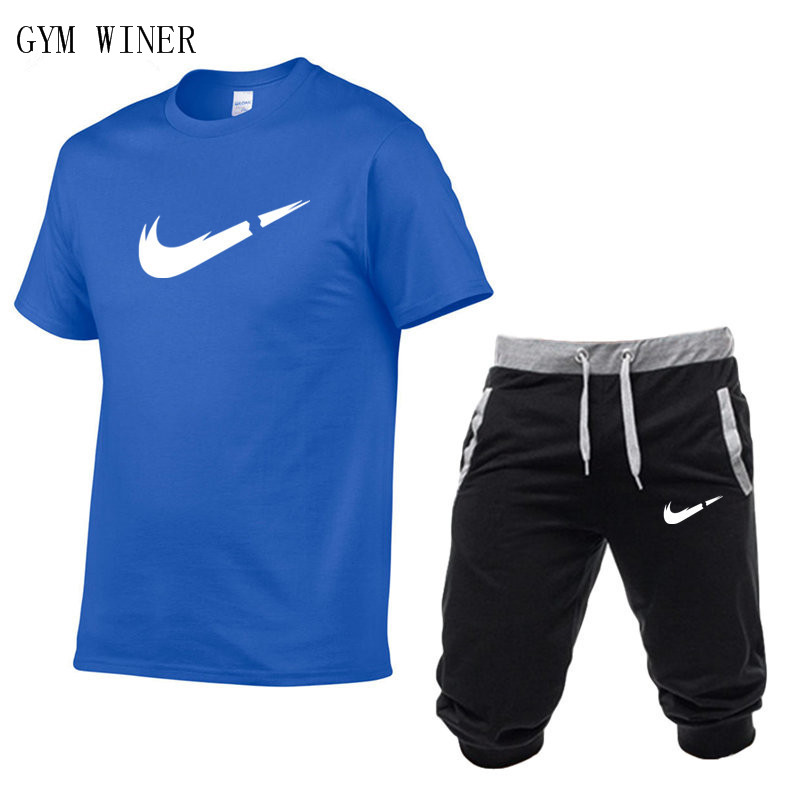 Image 3 - Summer New Tracksuit Men Shorts Casual Men's Sportswear Suit Shorts Brand Clothing Two Pieces Top Tee+Shorts Sweat Suits 2019-in Men's Sets from Men's Clothing