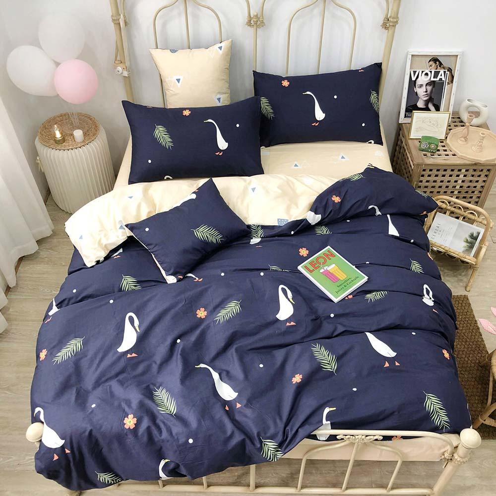 2019 Blue Duck Floral Nordic Bedlinens Twin Queen Size Duvet Cover Set Kids Children Bedding Set Cotton Bedsheet Bedspread
