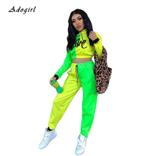 купить Color Block Patchwork Letter Print Tracksuit Women Casual Hoodie Crop Top With Pencil Pants Women Set Slim Sports Two Piece Sets дешево