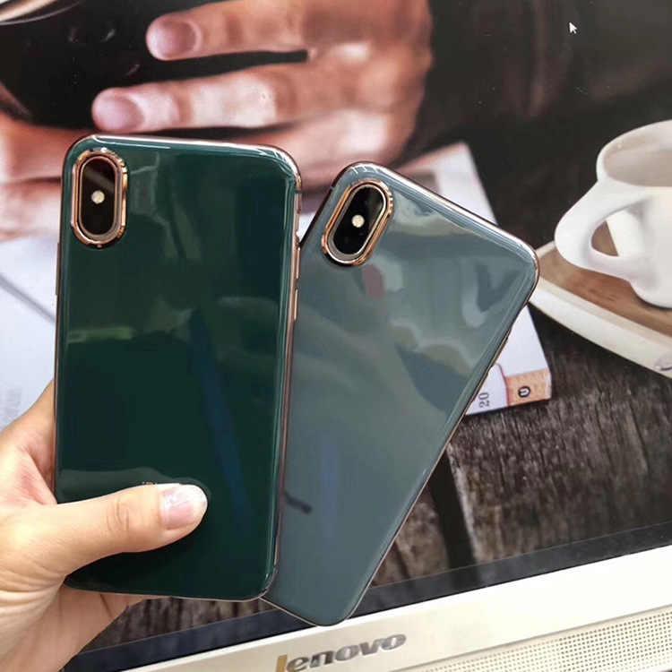 Cho Iphone X XR XS 11 Pro Max 6 6S 7 8 Plus 7G 8G Ốp Lưng Điện Thoại ốp Mềm TPU Mạ Điện Bà Bầu Màu Xám Bao Coque Funda Etui