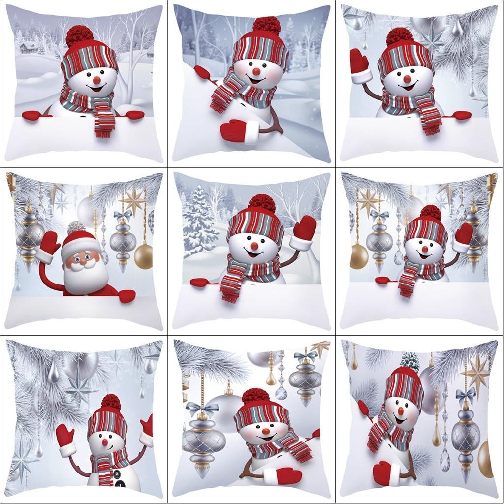 2019 Merry Christmas Cushion For Home Decoratives Cushions For Sofa Seat Car Pillowcase Christmas Snowman Hug Pillowcase