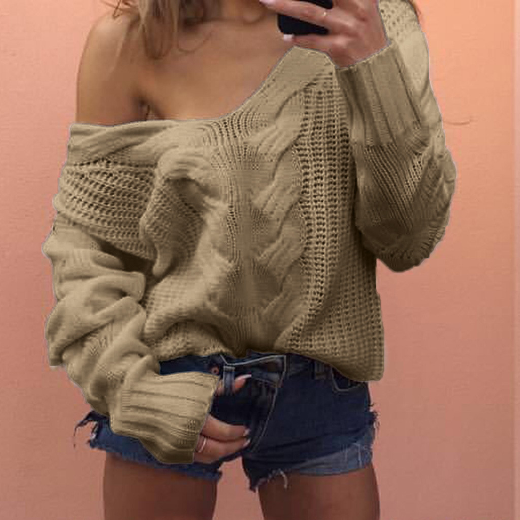Women Sweaters Lady V-neck Casual Solid Loose Long Sleeve Tops Slim Fit Knitted Pullover Female Autumn Winter Sexy Sweater A40#