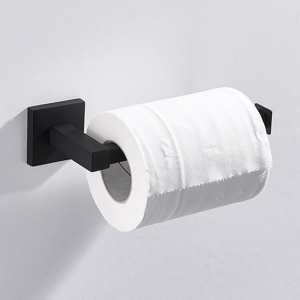 Bathroom Square Toilet Paper Holder Stainless Steel Matte Black Wall Mounted Toilet Roll Shelf For Kitchen Bathroom Accessories