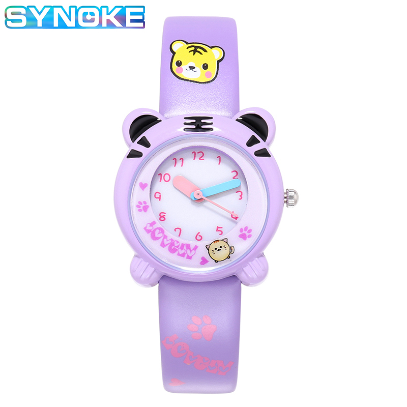 SYNOKE Lovely Tigre Animal Boy Girl Quartz Watches Student Child Birthday Present Clock Waterproof Kinderen Clock Children