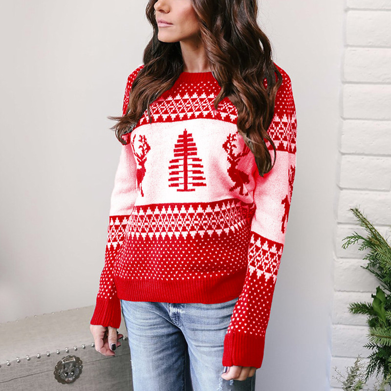 Ugly Christmas Sweater Woman Winter 2019 New Year Sweater With Deers Ladies Christmas Jumpers Knitted Pullover Pull Noel Femme