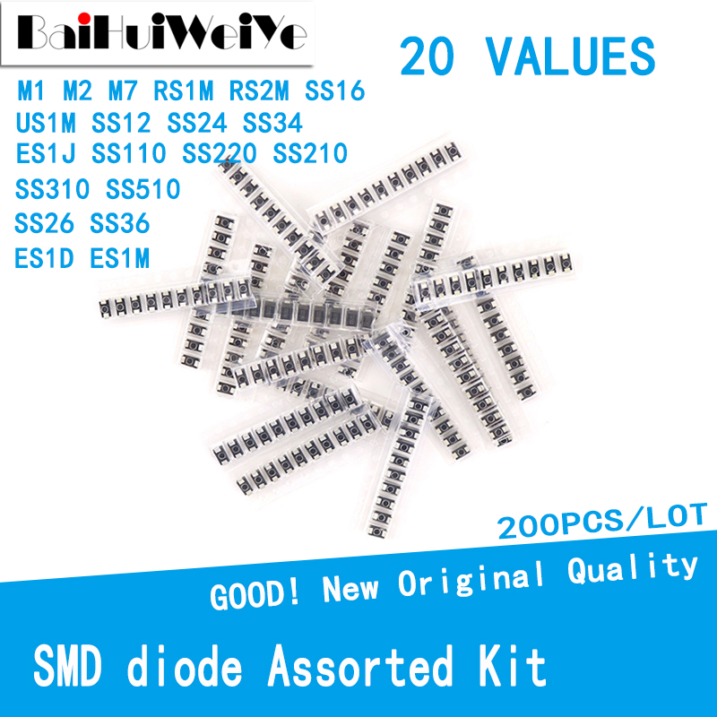 200pcs/lot SMD diode Assorted Kit 20value SS110 SS220 SS210 SS310 SS510 SS16 SS26 SS34 SS36 ES1J ES1D M7 M4 US1M M1 M2