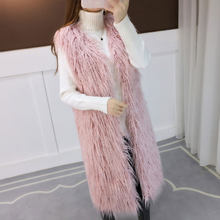 2019 new autumn winter beach wool vest long section faux fur vest thickening fur coat(China)
