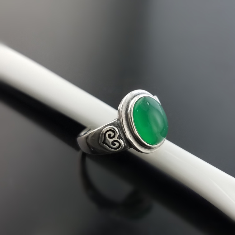 S925 Sterling Silver Ring Retro Thai Silver Inlaid Green Chalcedony Women's Rings Adjustable Ring