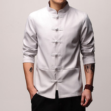 Mens Traditional Chinese Clothing Spring Autumn Solid Tang Suit Men  Kung Fu Tai Chi Master Costume  Male Tops Jackets CN-003